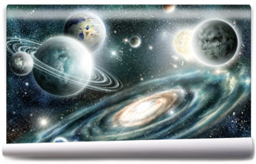 Fototapeta - Solar system and spiral galaxy