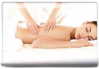 Fototapeta - Spa Woman. Close-up of a Beautiful Woman Getting Spa Treatment.