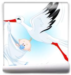 Fototapeta - Stork delivering a newborn baby boy