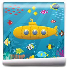 Fototapeta - Submarine Background / Cartoon yellow submarine underwater.