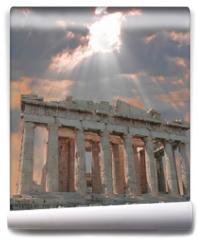 Fototapeta - sunburst over the acropolis temple