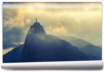 Fototapeta - Sunset at christ redeemer, Rio de Janeiro, Brazil