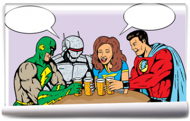 Fototapeta - Superheroes having beer, celebrating good times.