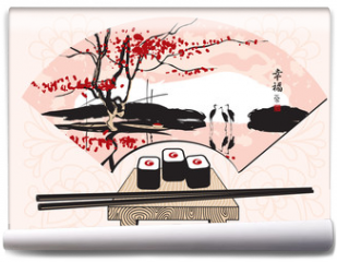 Fototapeta - sushi with a Chinese fan with landscape