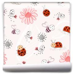 Fototapeta - Sweet babies doodle hand draw seamless pattern.