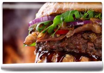 Fototapeta - Tasty burger, close-up.
