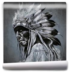 Fototapeta - Tattoo art, portrait of american indian head over dark backgroun