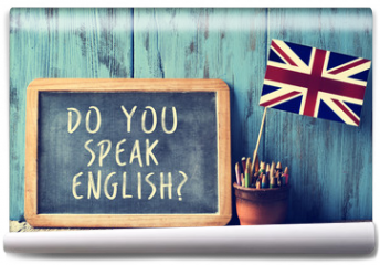 Fototapeta - text do you speak english? in a chalkboard, filtered