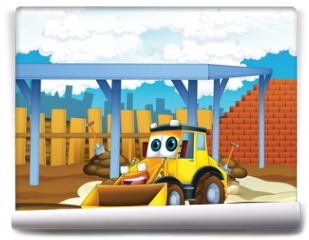 Fototapeta - The cartoon digger - illustration for the children