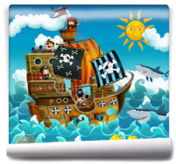 Fototapeta - The pirates on the sea - illustration for the children