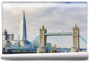 Fototapeta - The Shard and Tower Bridge on Thames river in London, UK