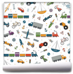 Fototapeta - traffic elements pattern on white background