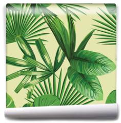 Fototapeta - tropical  palm leaves seamless background