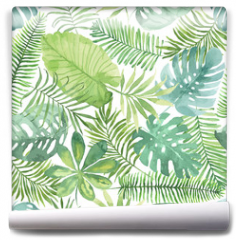 Fototapeta - Tropical seamless pattern with leaves. Watercolor background with tropical leaves.