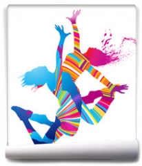 Fototapeta - Two dancing girls with colorful spots and splashes on white