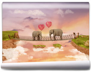 Fototapeta - Two elephants on a bridge in the sky with balloons. Illustration
