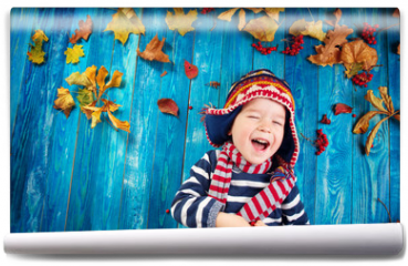Fototapeta - two years old boy dreaming in autumn