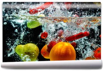 Fototapeta - Various Fruit Splash on water