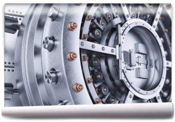 Fototapeta - Vault bank safe open door mechanism closeup 3d