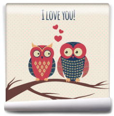 Fototapeta - Vector colorful illustration with two owls in love