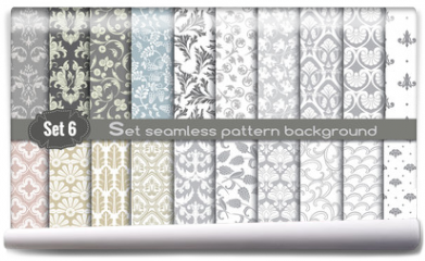 Fototapeta - Vector damask seamless pattern background.pattern swatches included for illustrator user, pattern swatches included in file, for your convenient use.