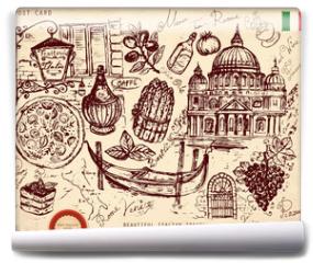 Fototapeta - Vector hand drawn card with italian symbols