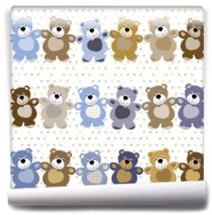 Fototapeta - vector seamless pattern of a toy teddy bear