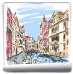 Fototapeta - Venice - Fondamenta Rio Marin. Vector sketch
