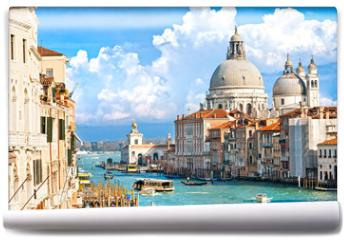 Fototapeta - Venice, view of grand canal and basilica of santa maria della sa