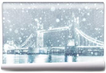Fototapeta - View of Tower Bridge in London with snow