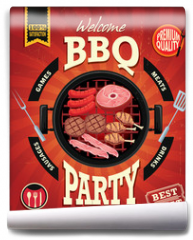 Fototapeta - Vintage BBQ party menu poster design