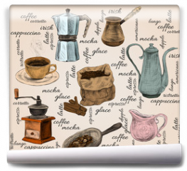 Fototapeta - Vintage coffee handdrawn set