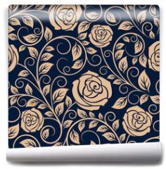 Fototapeta - Vintage roses flowers seamless pattern