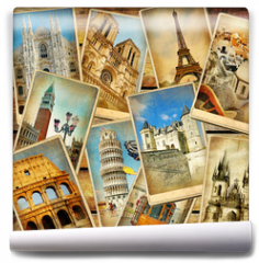 Fototapeta - vintage travel collage background