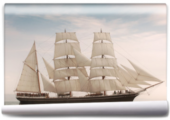 Fototapeta - Vintage windjammer style ship with full sails on the open sea