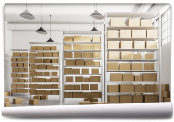 Fototapeta - Warehouse shelves with cartboard boxes front view