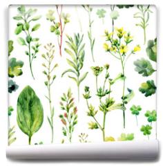Fototapeta - Watercolor meadow weeds and herbs seamless pattern