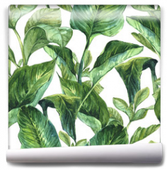 Fototapeta - Watercolor Seamless Background with Tropical Leaves