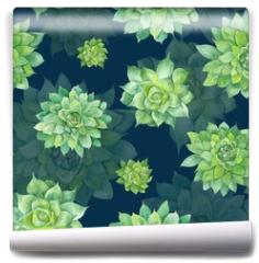 Fototapeta - Watercolor Succulent Pattern on Blue Background