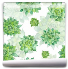 Fototapeta - Watercolor Succulent Pattern on White Background