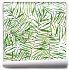 Fototapeta - Watercolor tropical leafs pattern