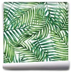Fototapeta - Watercolor tropical palm leaves seamless pattern. Vector illustration.