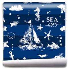 Fototapeta - White print boat and fishes on navy blueseamless pattern