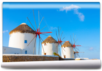 Fototapeta - Windmills with blue sky  Mykonos Island Greece Cyclades