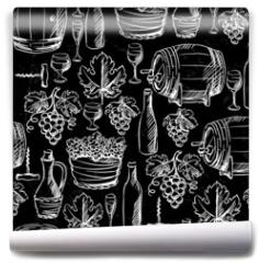 Fototapeta - Wine seamless pattern drawn by chalk.