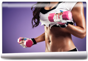 Fototapeta - Woman with flat and sexy stomach exercising