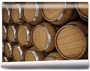 Fototapeta - Wooden oak brandy wine beer barrels rows