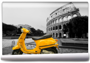 Fototapeta - Yellow vintage scooter on the background of Coliseum