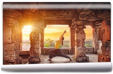 Fototapeta - Yoga in Hampi temple