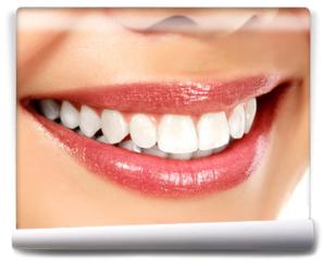 Fototapeta - Young smiling woman, white background, copyspace